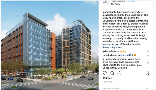 Marymount University Instagram post