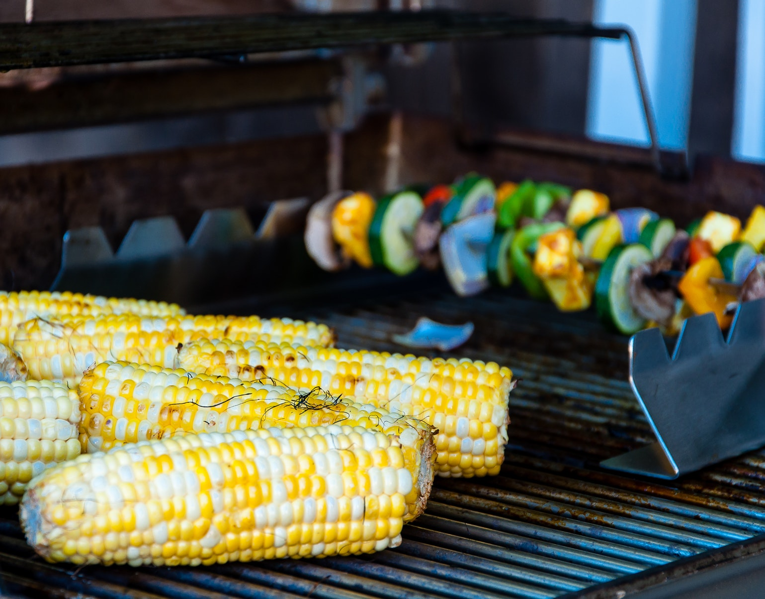grilled vegetables, corn, skewers