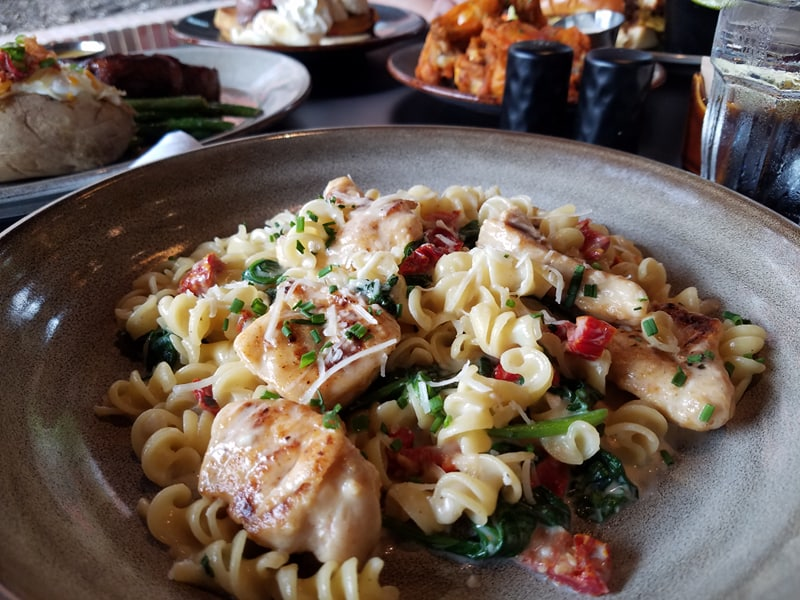 pasta, chicken