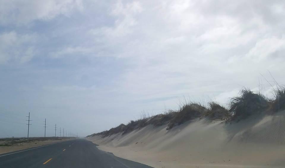 sand dunes, road
