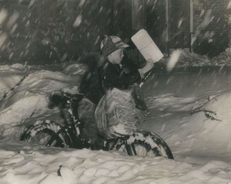 """""""I used to deliver papers in the snow uphill both ways."""" 1946 storm. Courtesy of AP File Photo."""