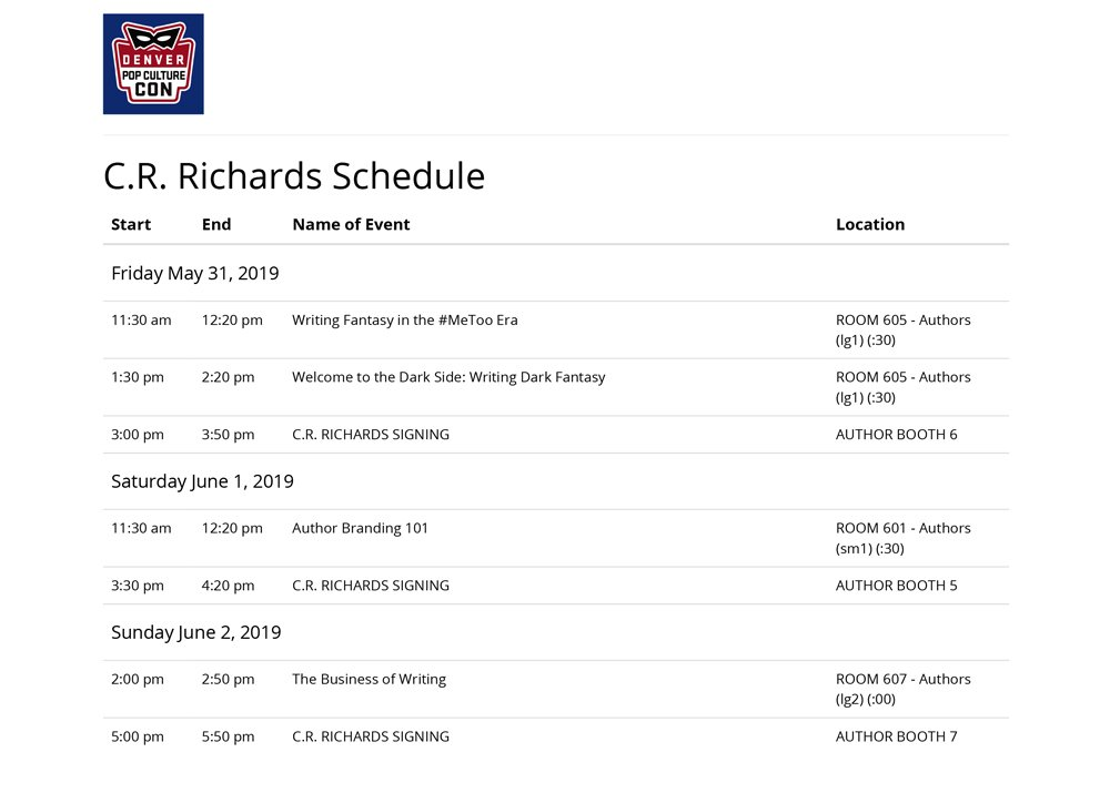 CR Richards Denver Pop Culture Con Schedule