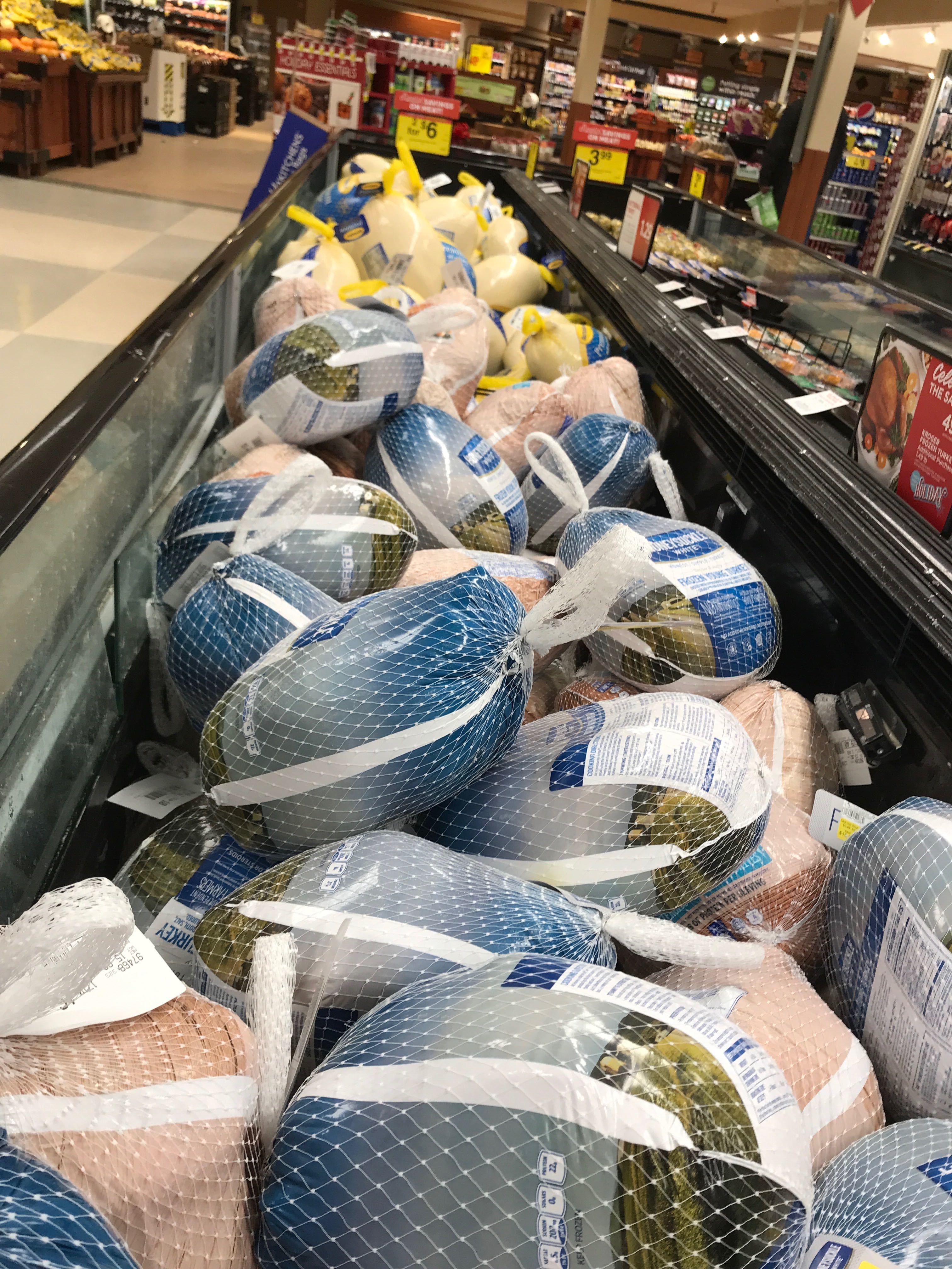 frozen turkeys in grocery store