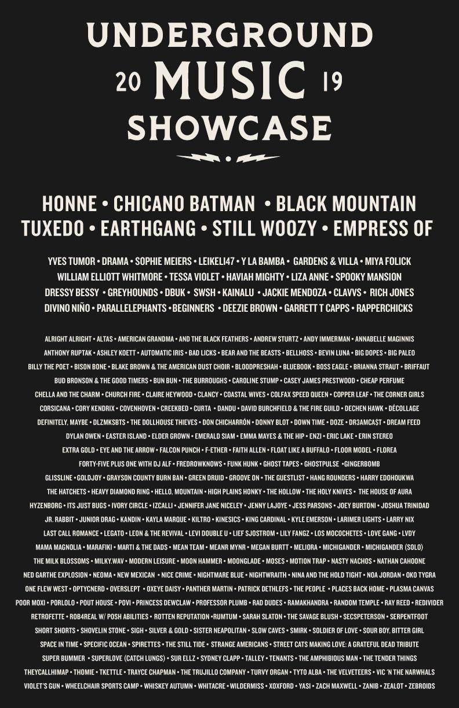 2019 Lineup Poster Underground Music Showcase