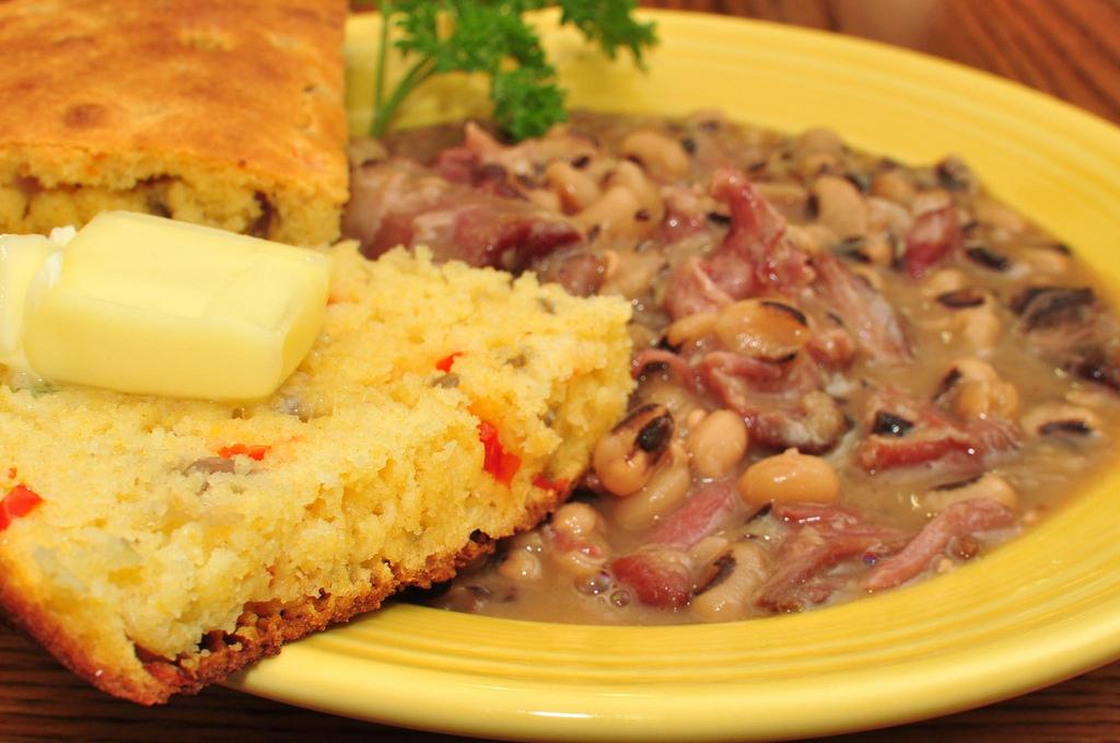 black-eyed peas, ham hocks, and cornbread