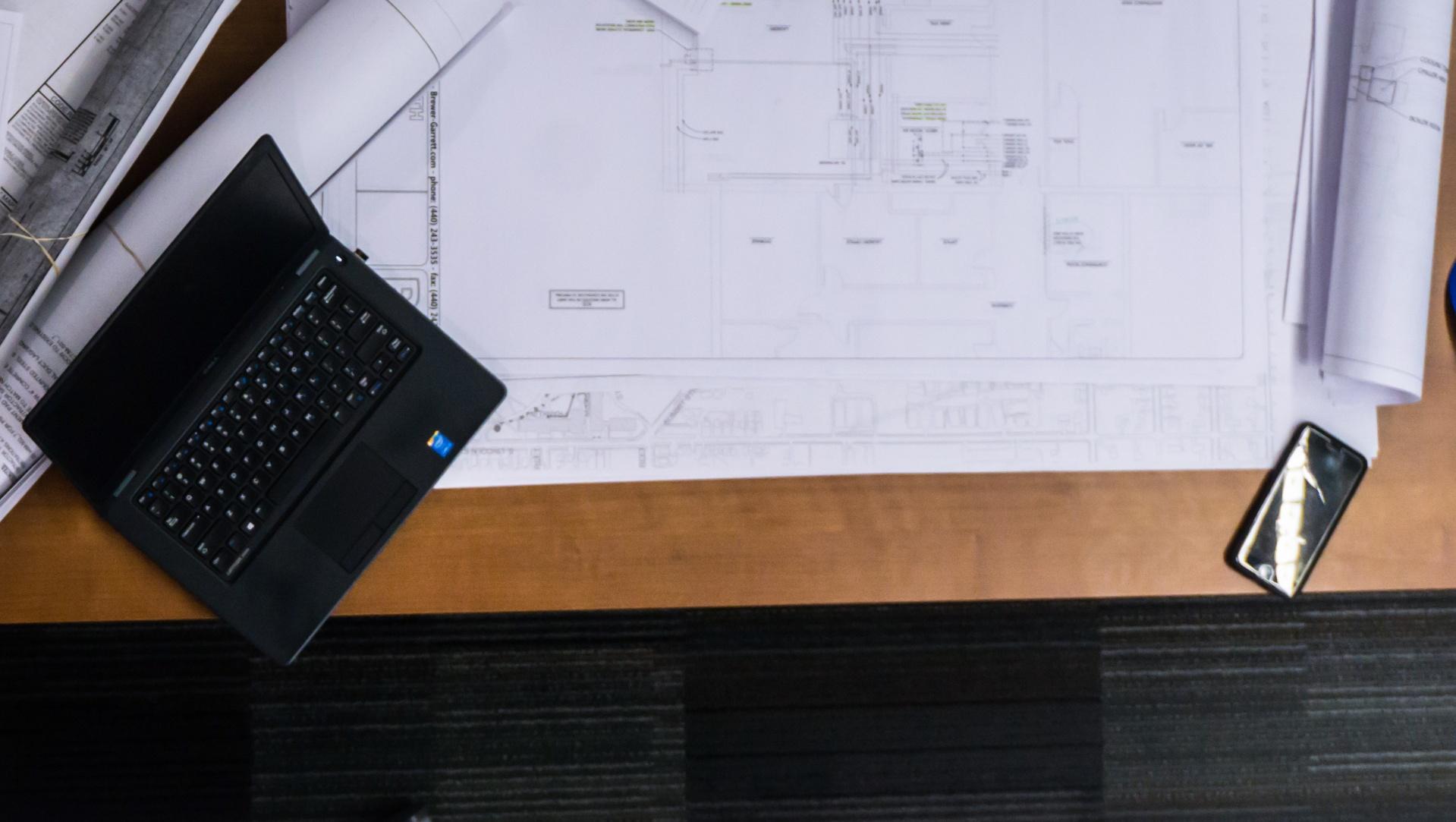 construction laptop cell phone blueprints