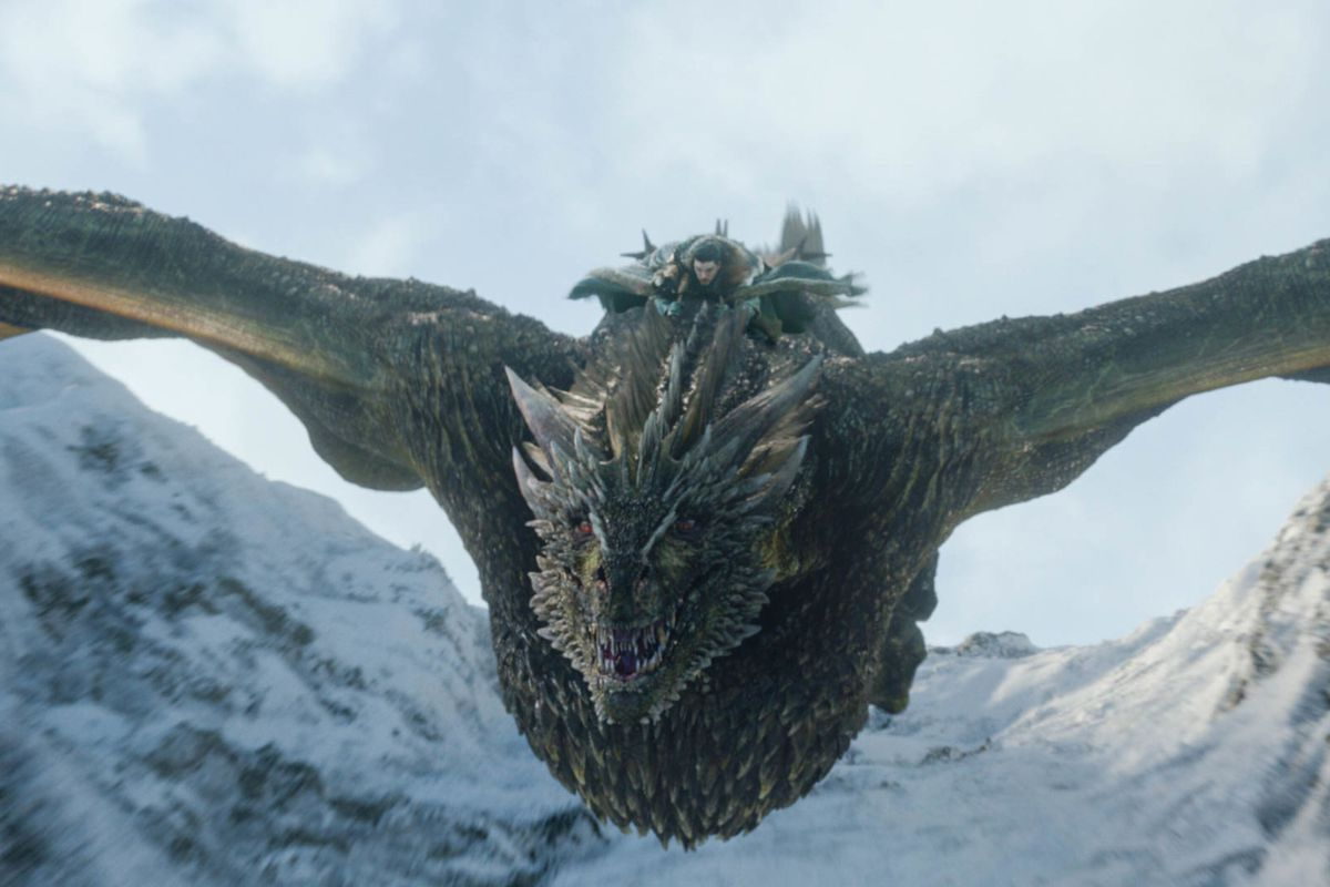 Jon riding dragon