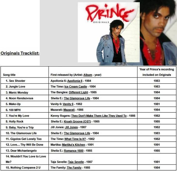 Originals Tracklist Prince Album Release