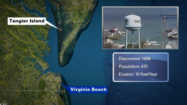 map of Tangier Island and Virginia